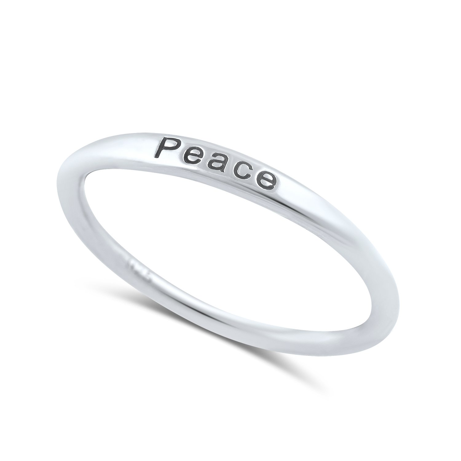 Sterling Silver Thin Stackable Peace Ring - Size 9