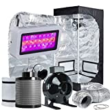 TopoLite Grow Tent Room Complete Kit Hydroponic Growing System LED 300W Grow Light + 4'' Carbon Filter Combo + 24''x24''x48'' Dark Room (LED300W+24''X24''X48''+4'' Filter Combo)