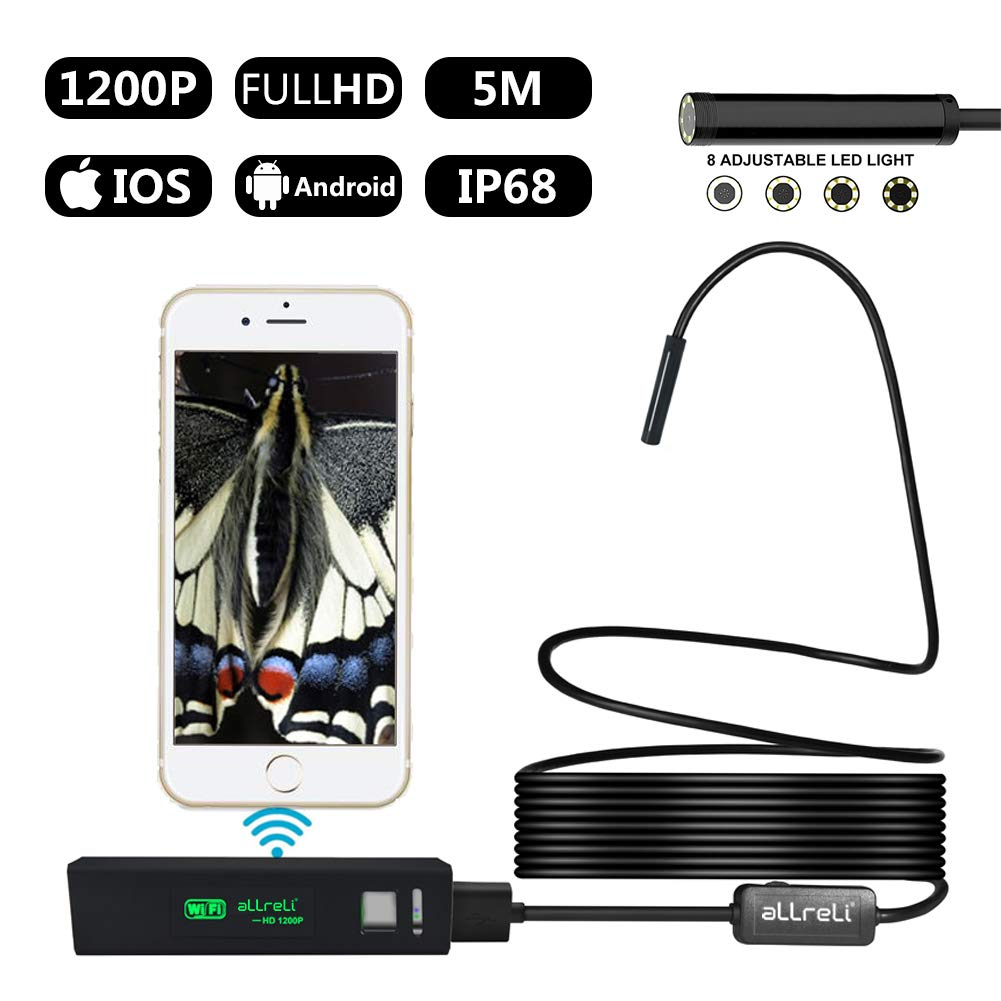 aLLreli Endoscope Wifi, Caméra d'inspection 2.0 Mégapixels 1200P HD, IP68 Caméra Endoscopique Câble semi-rigide Serpent Barescope pour iOS iPhone, Andriod Smartphone – 5 mètres Andriod Smartphone - 5 mètres