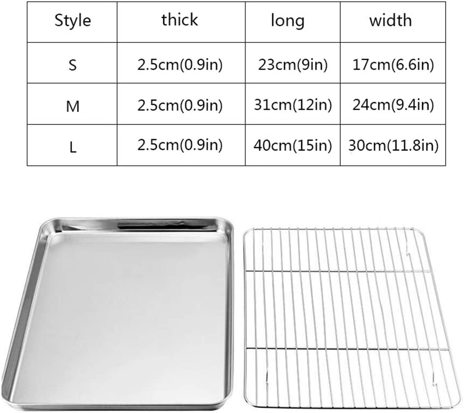 S Baking Sheets and Rack Set Pack of 2 Stainless Steel Baking Pans Cookie Tray with Cooling Rack Rectangle