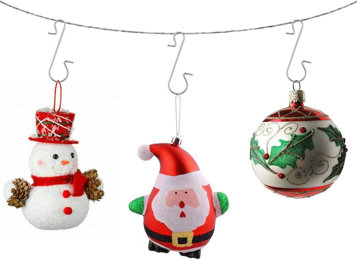 MELLIEX 120 Pezzi Ganci di Ornamento di Natale in Metallico Filo Ganci Ornamento Appendini con Scatola di Stoccaggio per LAlbero di Natale Decorazione