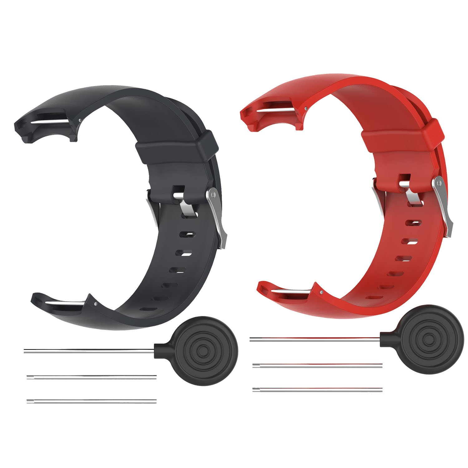 FitTurn for Garmin Approach s3 GPS Watch Band Strap Women/Man Replacement Silicone Wristbands Strap/Bands Color Watch Accessories with Metal Button for Garmin Approach s3 GPS-Black+Red