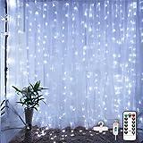Cortina de Luces LED con Gancho, E T EASYTAO 3Mx3M 300LEDS Impermeable Iluminación, 8 Modos de Luces con Control Remoto, Cade