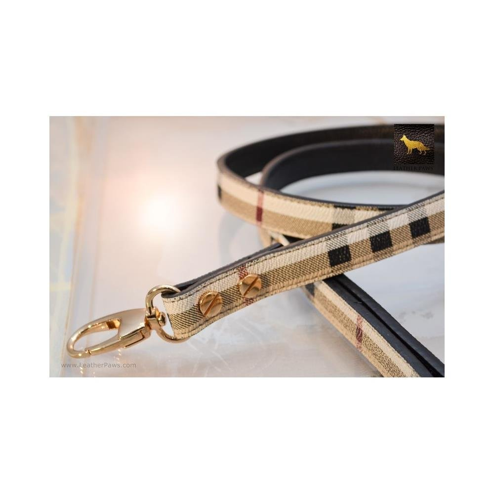 Leather Paws 6 Feet Plaid Berry Designer Leather Leash by Leather Paws