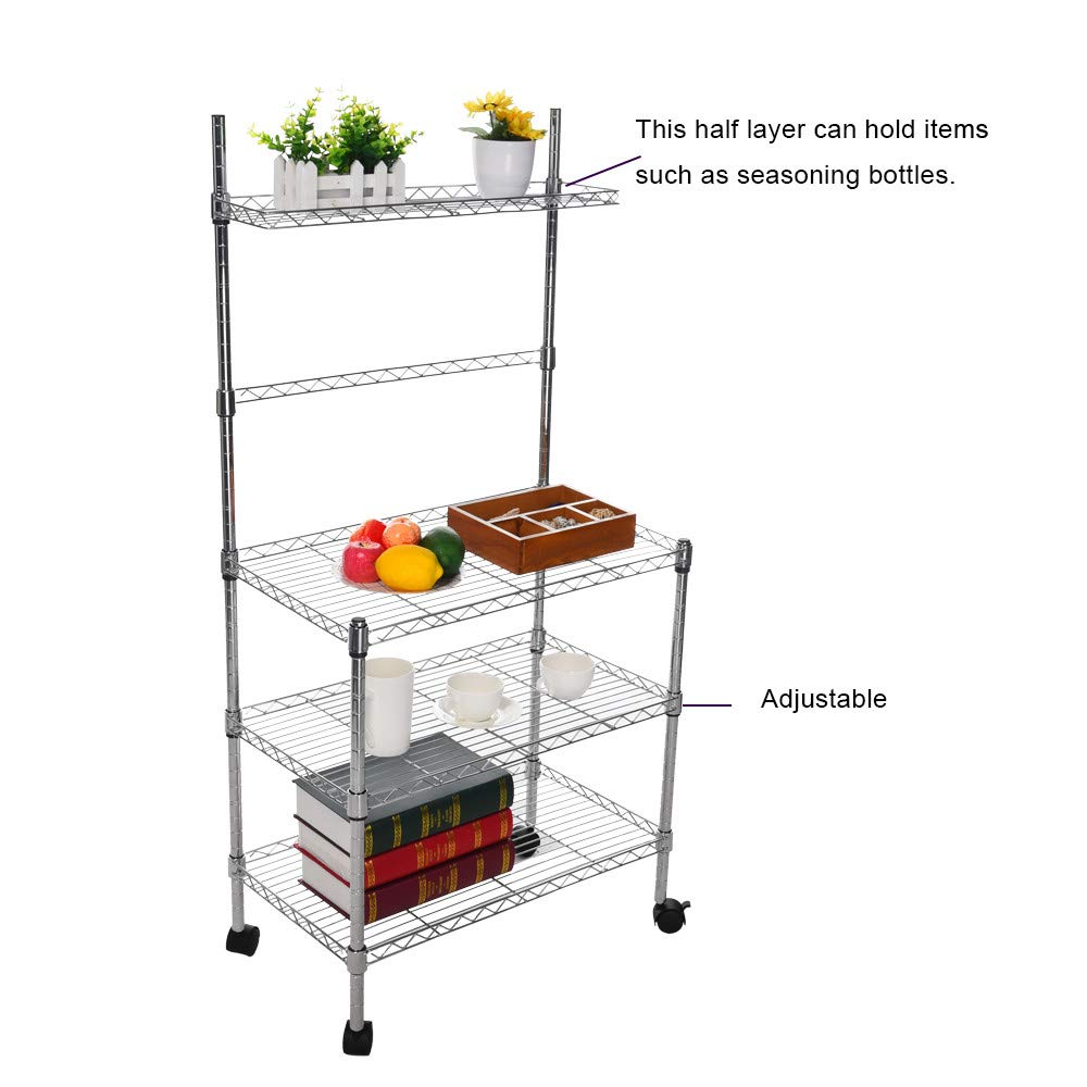 Hisoul Hot  3-Layer Microwave Rack Easy to Move Kitchen Cart Microwave Stand Storage Rack with Four-Wheel Storage Rack with Spice Rack - Silver - 23.62''x13.78''x47.24'' - Shipped from USA (Silver) by Hisoul (Image #6)