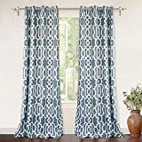 DriftAway Abigail Trellis Room Darkening/Thermal Insulated Grommet Unlined Window Curtains, Set of Two Panels, Each 52″x96″ (Blue)