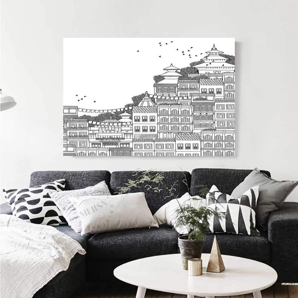 Amazon com warm family nepal canvas print wall art hand drawn