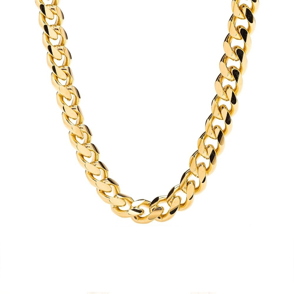 Cuban Link Chain - 9MM Round, Smooth, Thick 24K Gold Filled Necklace, Hip Hop Fashion Jewelry for Men, Tarnish Resistant, Comes in Box, Guaranteed for Life, Choker or Long, 18''-30'' (20.0)