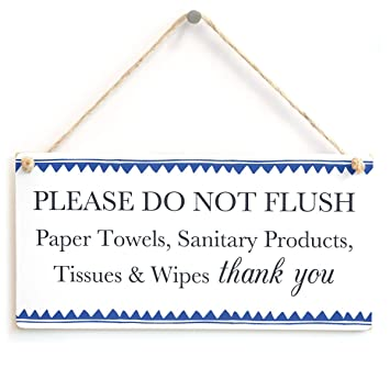 hualiang Please DO Not Flush Papel Toallas, etc Thank You - Azul Borde Seta Tanque de Agradecimiento señal para baño o Inodoro 25,4 x 12,7 cm: Amazon.es: ...