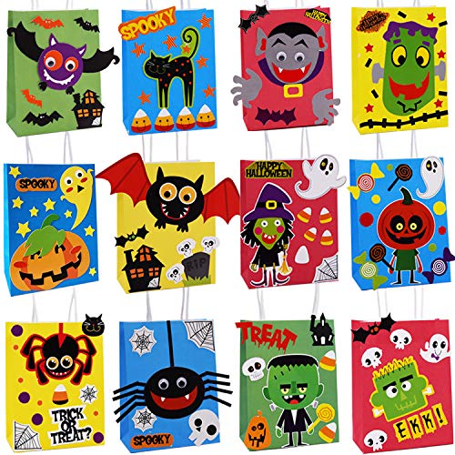 Diy Halloween Party Snacks (THAWAY DIY Halloween Party Bags for Kids 12 Assorted Design, Halloween Party Favors Bag, Paper Treat Bags for Classroom, Goodie Bags, Trick or Treating Candy Bags)