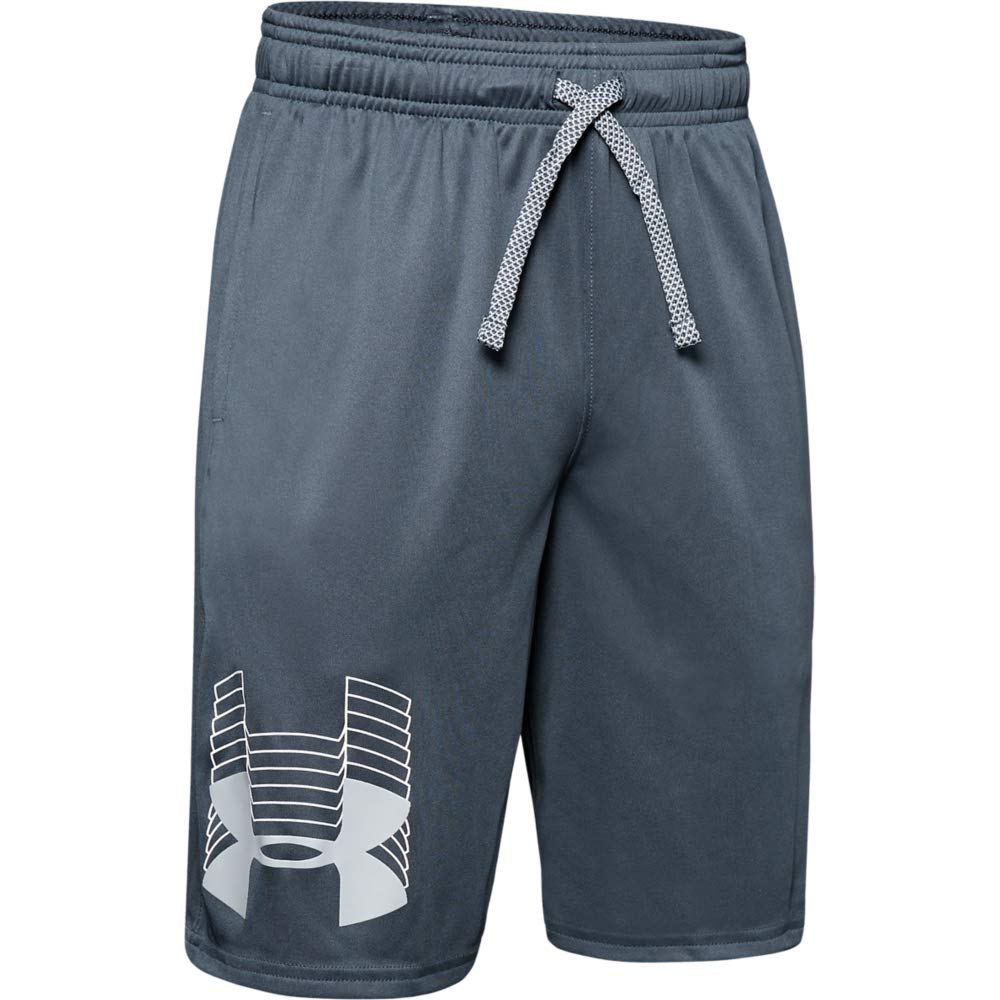 Under Armour boys Prototype Logo Shorts, Wire (073)/Mod Gray, Youth X-Small