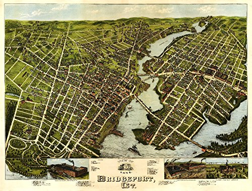 Bridgeport, Connecticut - Panoramic Map (36x54 Giclee Gallery Print, Wall Decor Travel Poster)