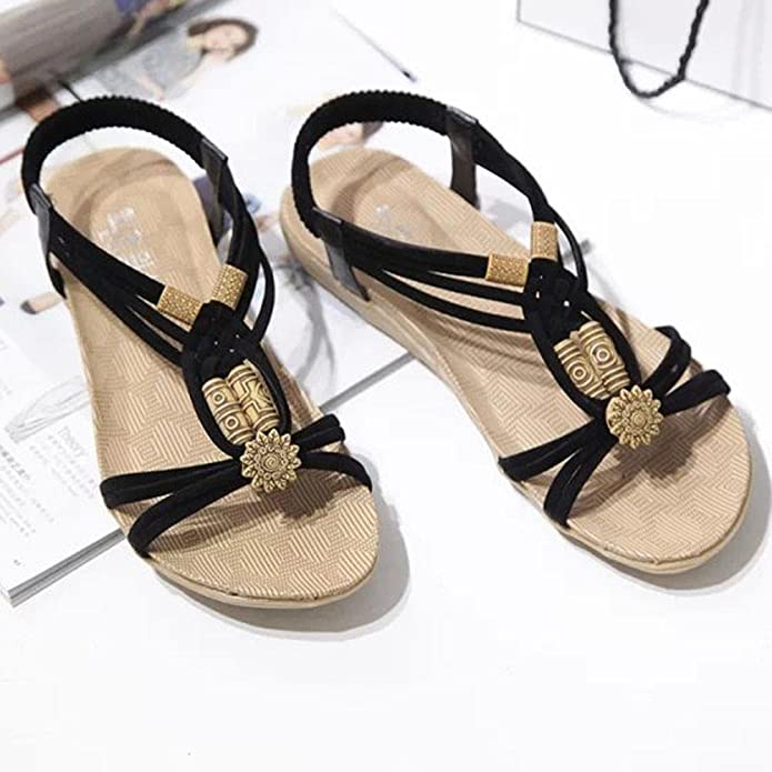 c0d61d3e796b1 LuckUk Womens Sandals Ladies Sandals Summer Bohemia Sweet Beaded Sandals  Clip Toe Sandals Flip Flops Slippers Womens Ladies Beach Shoes   Amazon.co.uk  Shoes ...