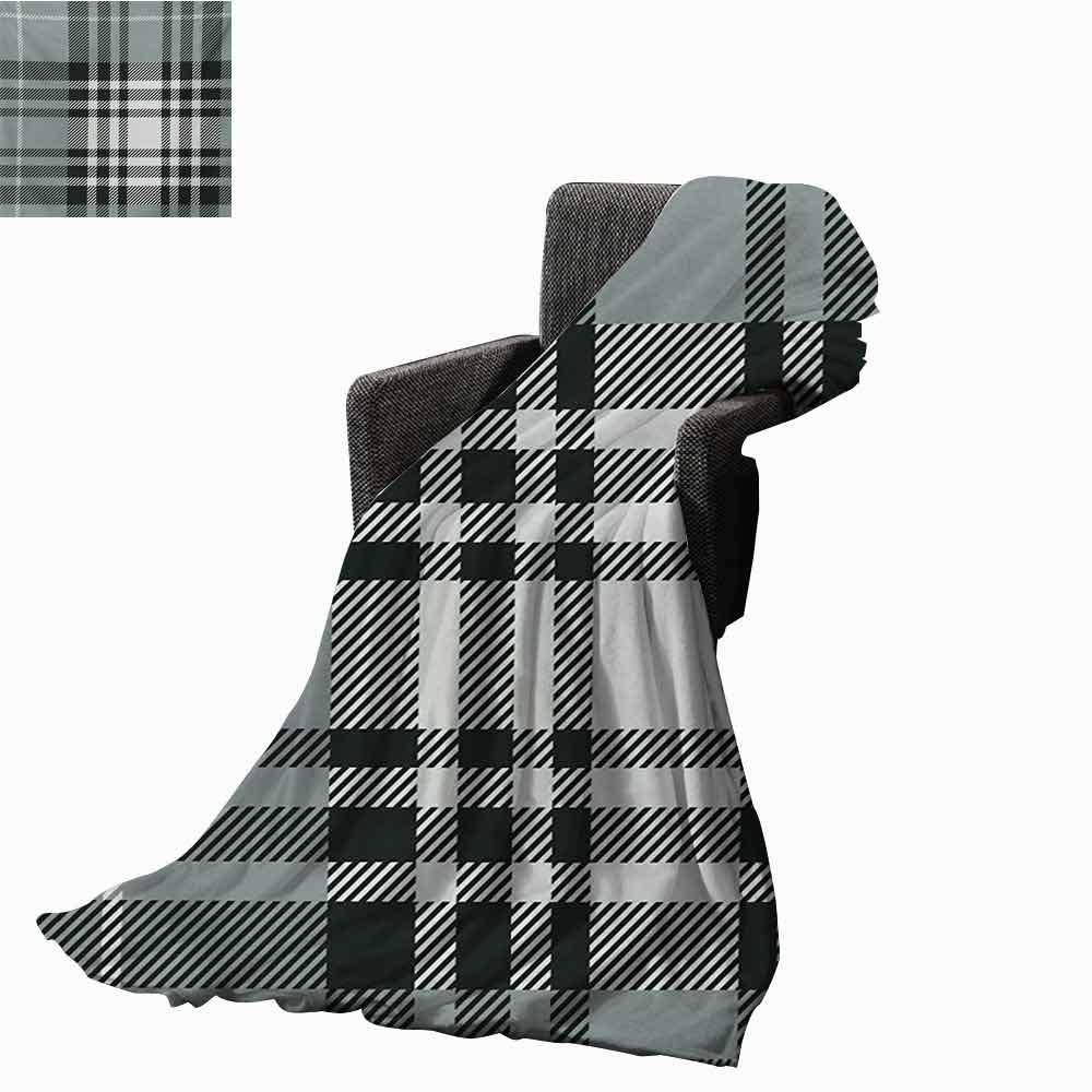 vanfan-home Checkered Weighted Blanket Adult,Old Fashioned Plaid Tartan in Dark Colors Classic English Tile Symmetrical Soft Fuzzy Cozy Lightweight Blankets (70''x60'')-Grey Black White