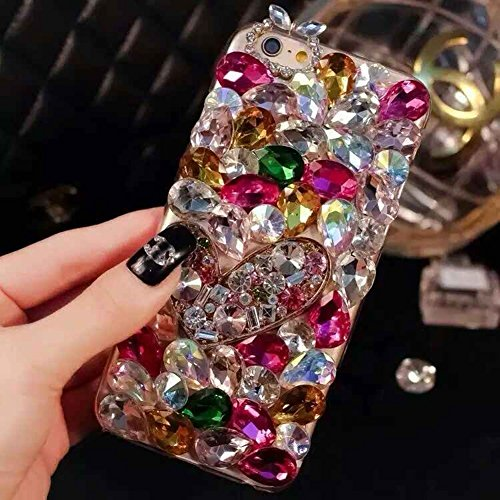 6 Plus Case, 6s Plus Case, LU2000 3D Crystals Sparkle Jeweled Bling [Heart Series] Phone Back Cover Case for Iphone 6 Plus / 6s Plus(5.5 inch) All Version - Pattern NO.7: Red Theme