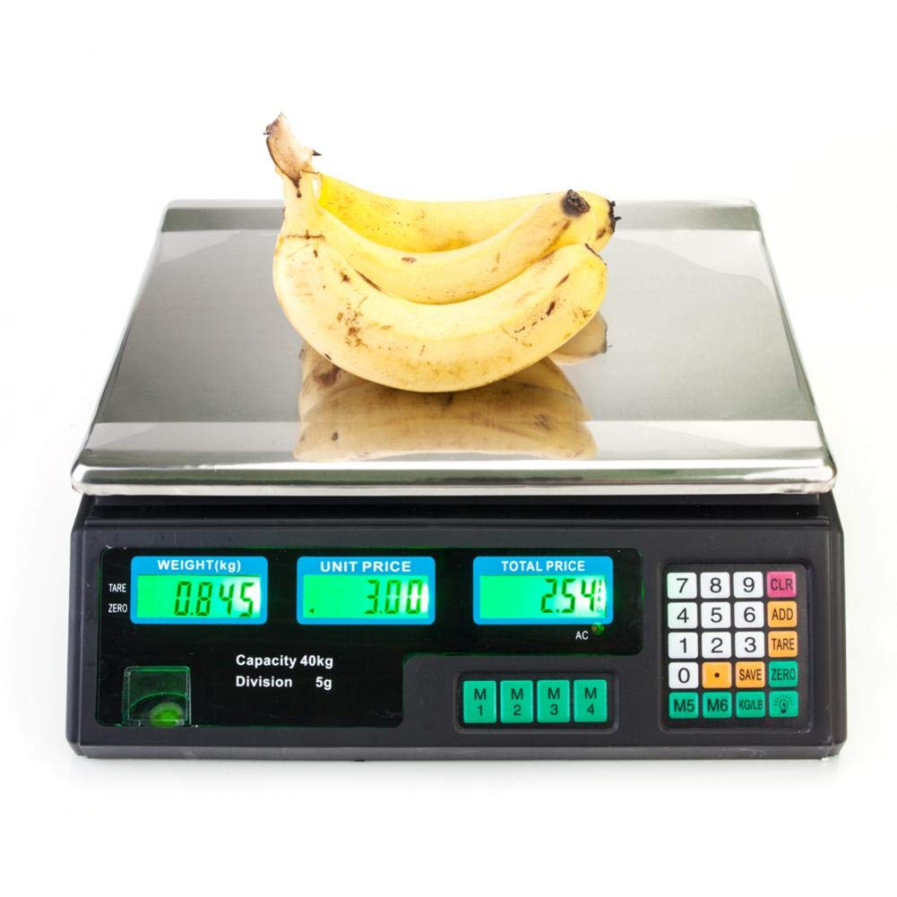 Electronic Price Computing Scale, Battery, 99Memories, 8 Direct Access Keys, ACS-30 40kg/5g Digital Scale Price Computing Deli Food Produce Electronic Counting Weight Scale For Vegetable US Plug by stonishi