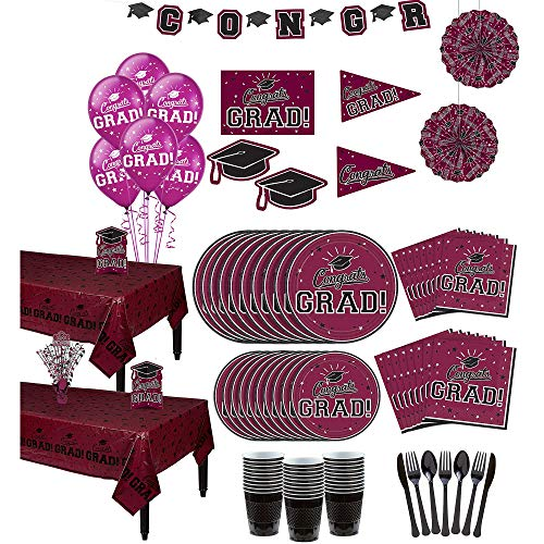 Party City Congrats Grad Berry Graduation Party Kit for 36 Guests, Includes Tableware, Balloons, and Room Decorations