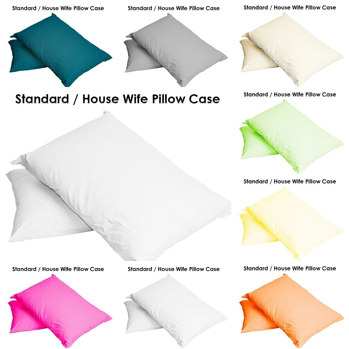 2 x PILLOW CASES HOUSEWIFE PLAIN COVER POLY COTTON BEDROOM LUXURY PAIR PACK (White) Autumn Nights