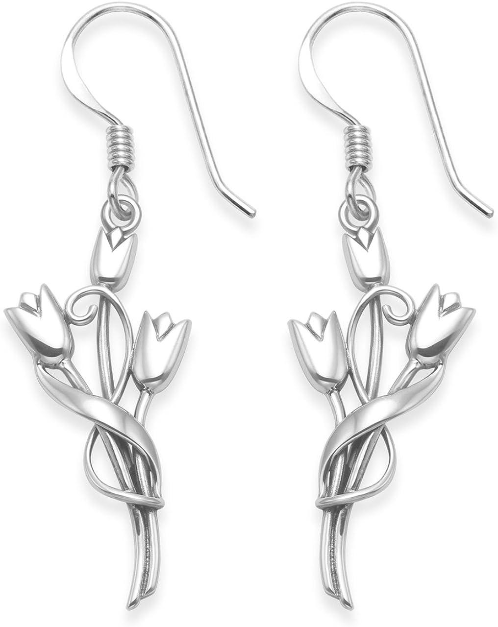 Plata de Ley Pendientes De Rennie Mackintosh–tres tulipanes pendientes de gota–TAMAÑO: 13mm x 25mm (mm, pendientes alambre). En caja de regalo. 6107/b54hn.