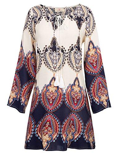 GRACE KARIN Womens Casual Long Sleeve V Neck Tribal Print Tunic Dress Size S White