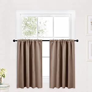 RYB HOME Valance Curtains Set, Half Window Decoration Blackout Window Shades for Living Room, Short Curtains for Cafe Shop/Kitchen, 42 inche Wide x 36 inch Long Per Panel, Cappuccino, 2 Panels
