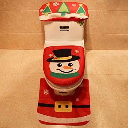 Awesome Christmas Decorations Happy Santa Snowman Toilet Seat Cover Pabps2019 Chair Design Images Pabps2019Com
