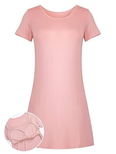 37117c2d3 Camisón Mujer con Sujetador Camisón Pijamas Lencería Vestido de Dormir Suave  Cómodo y Agradable Manga Corto  Amazon.es  Ropa y accesorios
