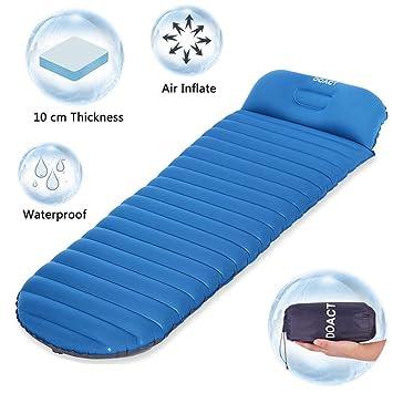 DOACT Sleeping Pad para Acampar con Mochila Excursión de Viaje, Inflable sin Fuga Air Pad Utilizada con Sleeping Bag/Mat para Dormir Cómodamente Toda la ...