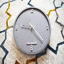 Sticker Creative MDF Non-ticking Silent Round Wall Clock 10.5'' Decorative For Home, Office and Bar (Grey)