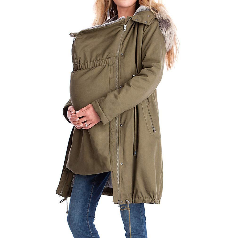 Mujeres Embarazadas Outwear Color S/ólido Chaqueta con Capucha Manga Larga Abrigo de Maternidad Cremallera Ropa de Mujer Embarazada S-XXXL