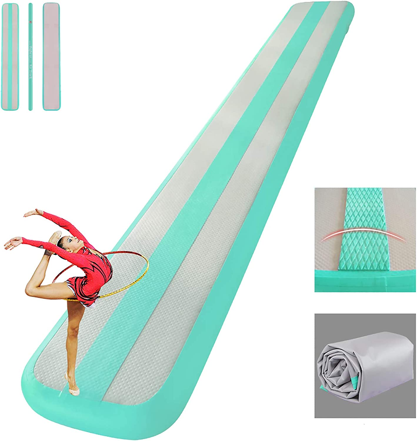 ibigbean Inflatable Balance Beams Gymnastics Mats with EVA Middle Line for Home Gym Training
