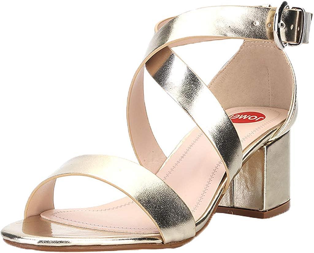Gold 38 EU Damen Mid Heel Kn&ou ;chelriemen Gold Sandalen Tanzparty Open Toe High Heel