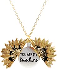 Inspirational You are My Sunshine Sunflower Necklace 2-Side Version for Personalized Gift with Box