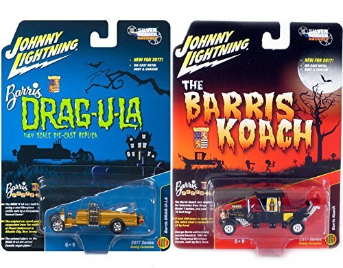 Munsters Double Feature Koach Car George Barris Hobby Exclusive Model 2017 & Silver Screens Munsters Barris Drag-u-la Hot Rod Creepy Set Limited Edition 2-Pack Johnny Lightning