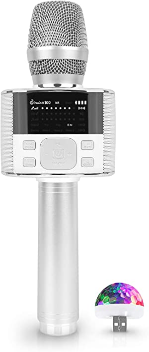 Wireless Bluetooth Karaoke Microphone, with LED Screen, Portable Handheld MIC & Speaker for Birthday, Home Party, Presentation Android/iPhone/PC, car Accessories