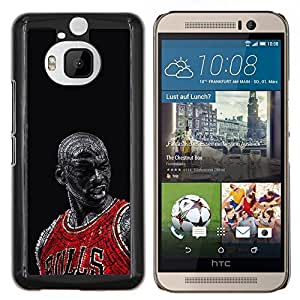 Bull Chicago Baloncesto- Metal de aluminio y de plástico duro Caja del teléfono - Negro - HTC One M9+ / M9 Plus (Not M9)