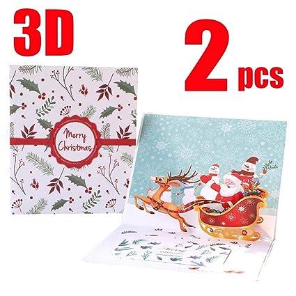 Tarjeta Felicitacion 3D Navidad Feliz Regalo de Saludo ...