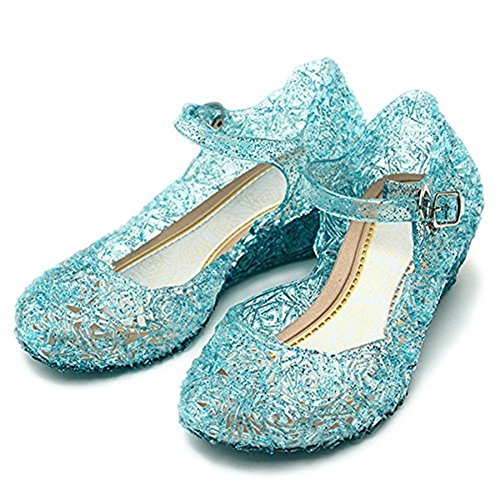 L-Peach Princess Girls' Cute Sparkle Sandals Fancy Dress Up Jelly Party Dancing Cosplay Shoes Blue