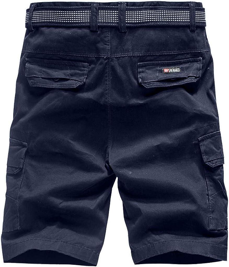 Mens Work Shorts Casual Slim Fit Tooling Shorts Multi-Pocket Outdoor Sports Running Shorts