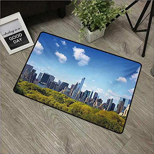 City,Entry Rug Manhattan Skyline with Central Park in New York City Midtown High Rise Buildings W 24
