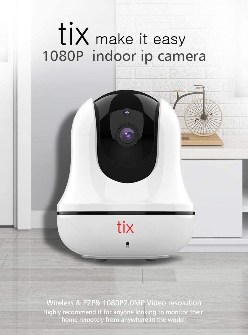 TIX Security 2K Indoor Cam Pan & Tilt, Plug-in Security Indoor Camera with Wi-Fi, IP Camera, Human & Pet AI, Voice Assistant Compatibility, Motion Tracking, HomeBase Not Required