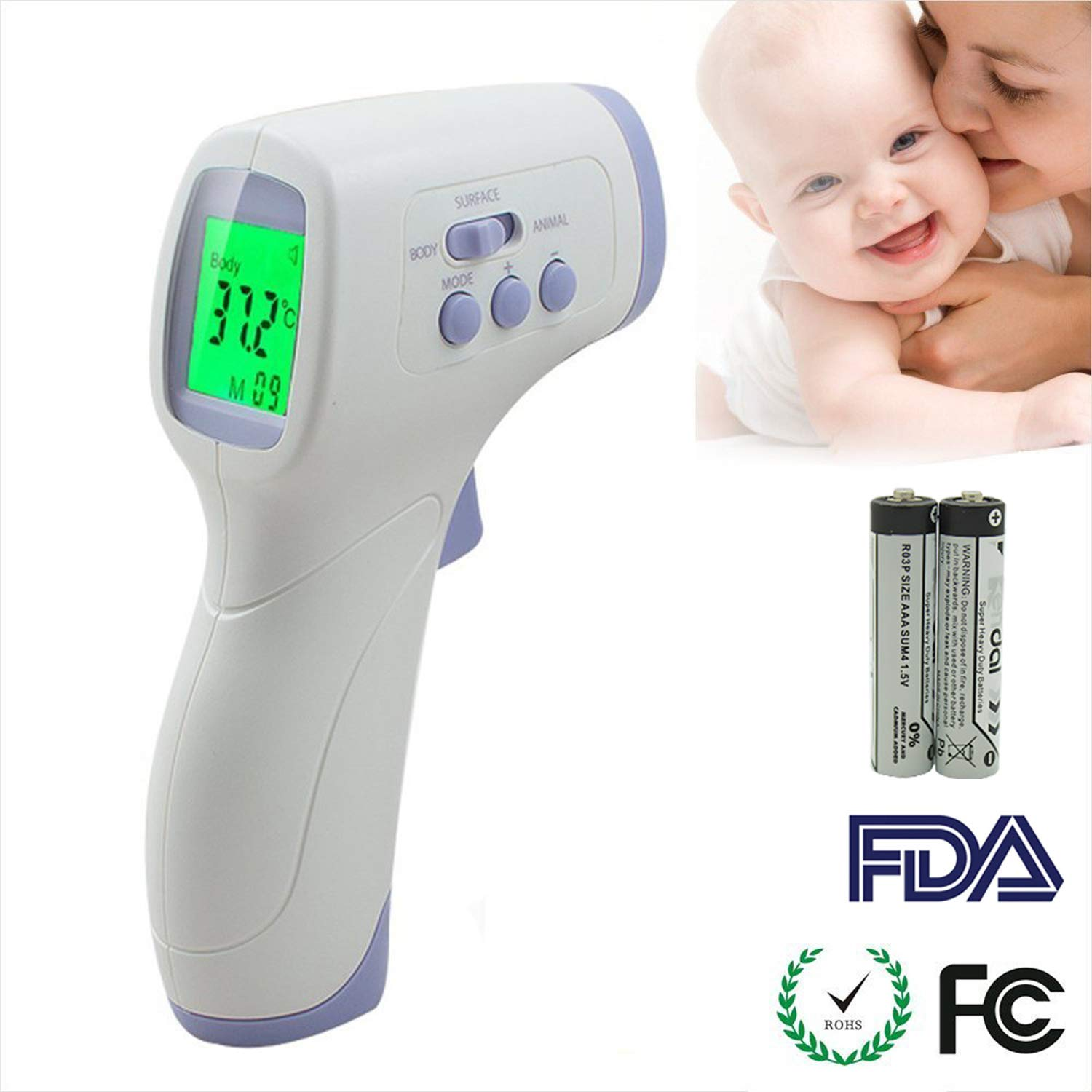 ANIKUV Forehead Digital Thermometer for Baby, Kids, Adults and Pets, Non-Contact Infrared Body Temperature Thermometer Accurate Fever Thermometer FT-CW-067