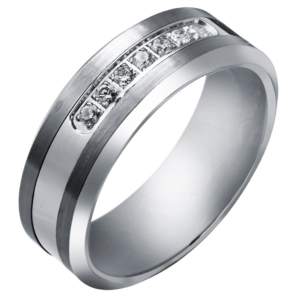 Tungsten Carbide Diamond Mens Wedding Band .20CTW (H-I I2) by AX Jewelry (Image #2)