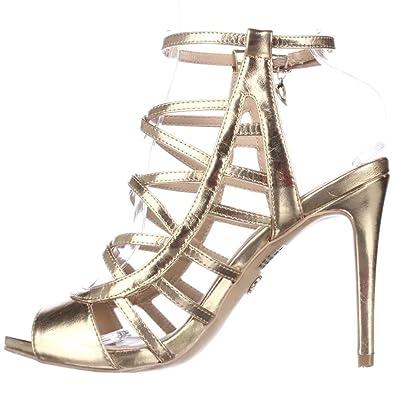 Thalia Sodi Womens Clarisa Open Toe Special Occasion Strappy Gold Size 85
