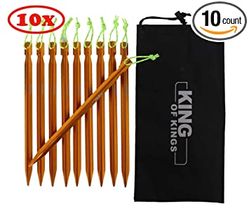 XIQI 8.5 inches Aluminum Tent Peg Stakes for Camping, Hiking, Gardening, Trip, Canopy with Carry Bag