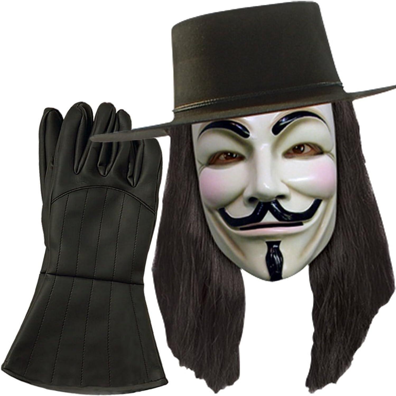 V for Vendetta Hat, Mask, Wig, Gloves Combo Costume Officially Licensed