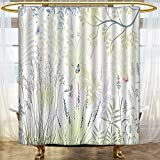 Mikihome Shower Curtains Fabric Wild Herbs and Butter Fern Curved Branch Mother Earth