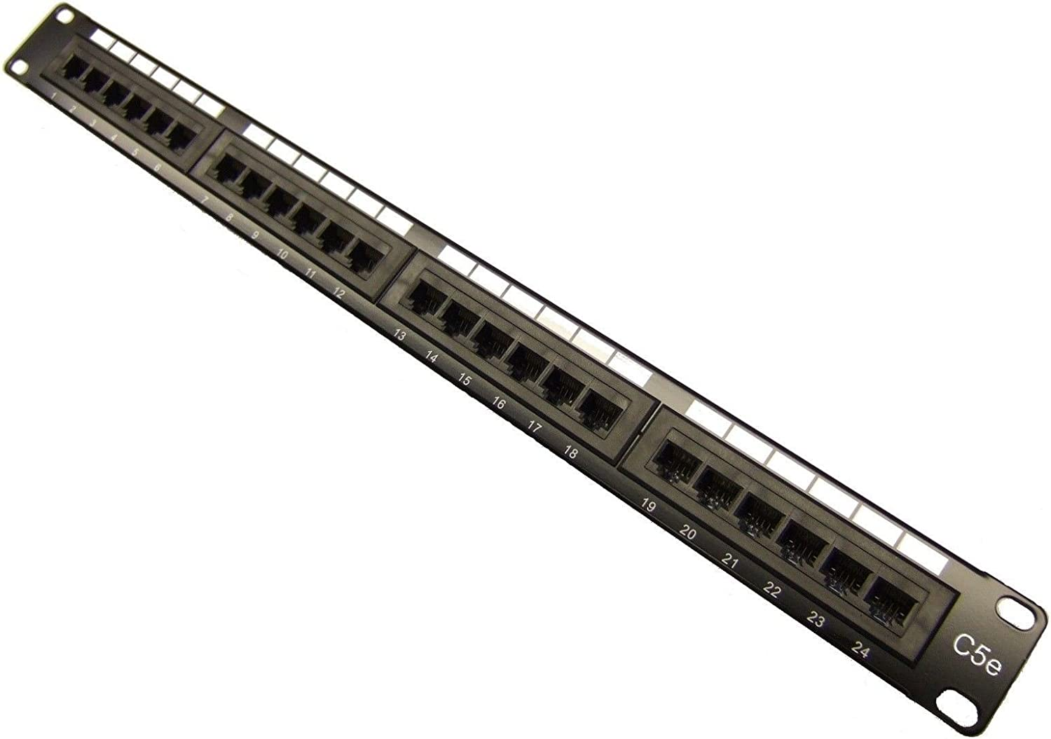 24 Port CAT5e RJ45 110 Network Ethernet Rack Mount 1U 1RU One Space Patch Panel with nickel plating