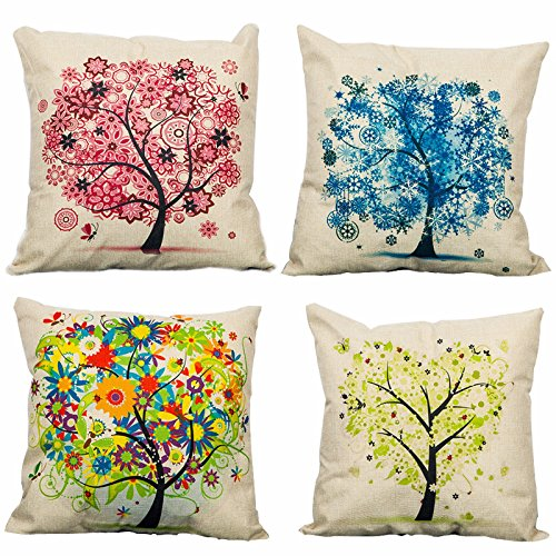 4-Pack Cotton Linen Sofa Home Decor Design Throw Pillow Case Cushion Covers Square 17.5 Inch (Set of 4 Tree Series)