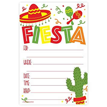 amazon com fiesta party invitations 20 count with envelopes